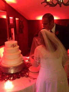 8-21-15 Christina and Ayman cutting the cake
