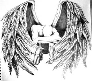 fallen angel black and white drawing